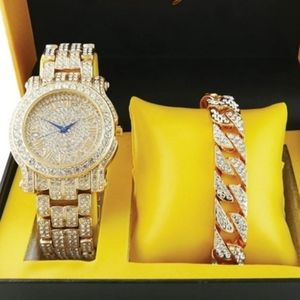 Mens Watch bracelet Luxury BLING out cuban watch